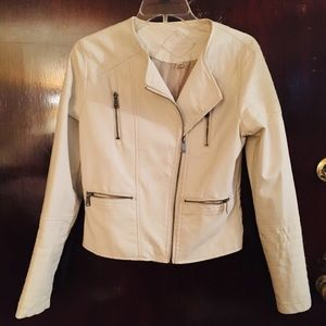 White / Cream Colored Vegan Leather Jacket